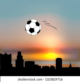 Yekaterinburg vector skyline with football ball