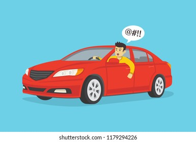Yelling angry car driver. Flat vector illustration.