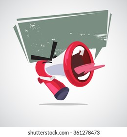 yelling out megaphone character design with speech bubble. attention concept - vector illustration