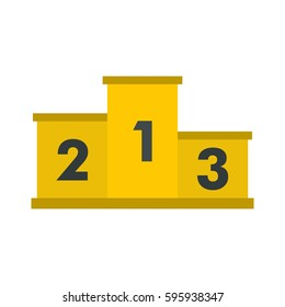 Yellow 123 podium stage winners icon. Flat illustration of 123 podium stage vector icon isolated on white background