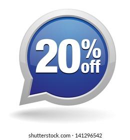 yellow 20 percent off speech bubble
