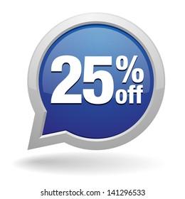 yellow 25 percent off speech bubble
