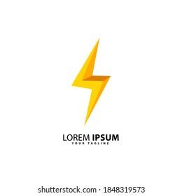 yellow 3d flash logo design