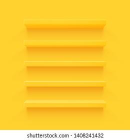 Yellow 3d shelf on the wall. Wooden horizontal realistic empty shelf.