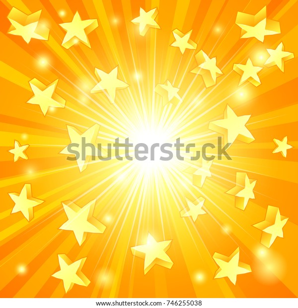 A yellow 3D stars background concept for win or jackpot or something else exciting