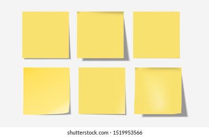 Yellow 6 Post notes set-Vector Illustration