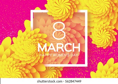 Yellow 8 March. Floral Greeting card. Happy Women's Day. Paper cut flower holiday background ,square Frame and space for text. Origami Trendy Design Template. Happy Mother's Day. Vector illustration