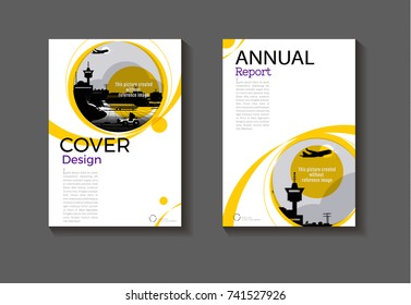 yellow abstract  cover Circle design modern book cover Brochure cover  template,annual report, magazine and flyer layout Vector a4
