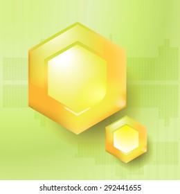 yellow abstract geometric hexagons