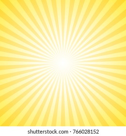 Yellow abstract sun burst background - gradient sunlight vector graphic design from radial stripes