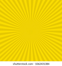 Yellow abstract sunburst background from radial stripes - vector illustration