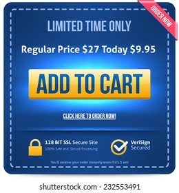 Yellow Add To Cart button with blue text. Vector illustration.