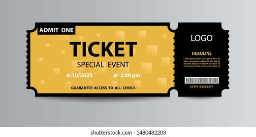 Yellow admission stub ticket template.