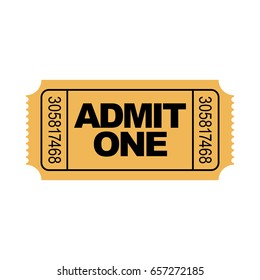Yellow admit one ticket illustration with numbers. Vector.