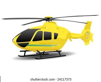 Yellow Air Ambulance Illustration over White