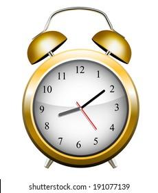 Yellow alarm clock. Vector