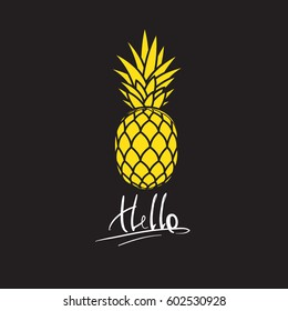 Yellow ananas with text hello.Vector flat logo