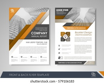 Yellow annual report brochure flyer design template. Leaflet cover presentation abstract background for business, magazines, posters, booklets, banners. Layout in A4 size Easily editable vector format
