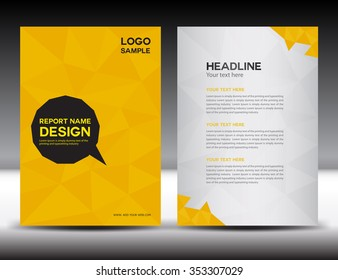 yellow Annual report Vector illustration, cover design, brochure flyer, booklet, Abstract polygon background, newsletter, poster, leaflet, catalog, book