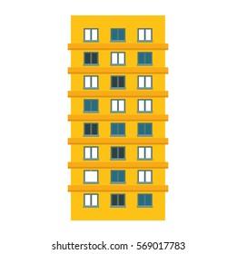 Yellow apartment building line sticker, vector illustration icon