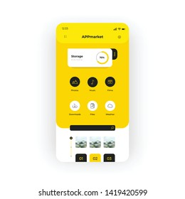 Yellow app download market UI, UX, GUI screen for mobile apps design. Modern responsive user interface design of mobile applications including music, photo editors, films categories