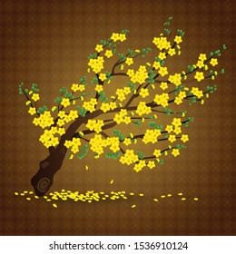 Yellow Apricot flower branch and falling petals - Vector