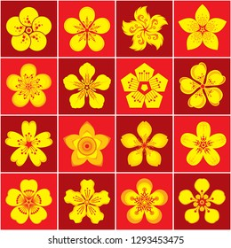 Yellow Apricot flower icon set - Vector
