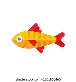 Yellow aquarium fish silhouette vector illustration. Flat style graphic design icon sign.