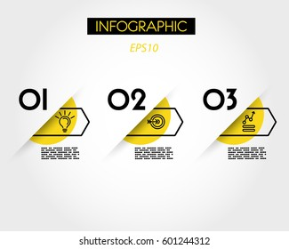 yellow arc infographic options with arrow, three steps