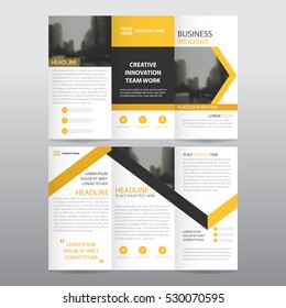 yellow arrow business tri fold leaflet brochure flyer report template vector minimal flat design set