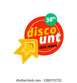 Yellow arrow pointing at red circle with 30% discount offer during sale