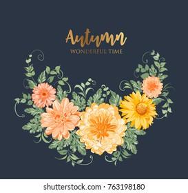 Yellow autumn flowers. Chrysanthemum garland composition. Orange blossom wreath isolated on blue background. Vector illustration.
