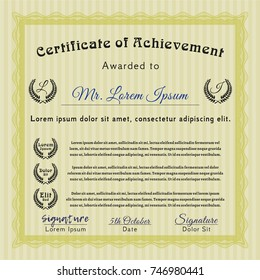 Yellow Awesome Certificate template. Lovely design. With background. Customizable, Easy to edit and change colors.