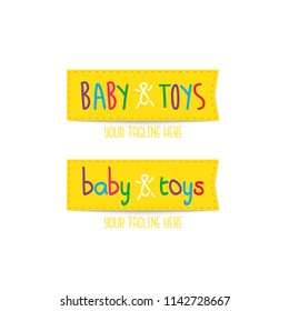 Yellow Baby & Toys colourful fun vector logo template tag style, logo for business, pre-educational, baby care and industrial