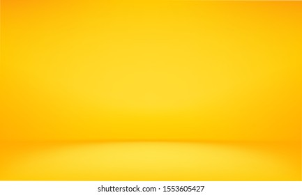 yellow background abstract with Gradient in empty room studio, Yellow empty room studio gradient used for background, yellow background studio with shine use for product shooting. Orange background.