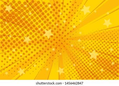 Yellow background of the Book in comic style pop art superhero. Lightning blast halftone dots. Cartoon vs. Vector Illustration
