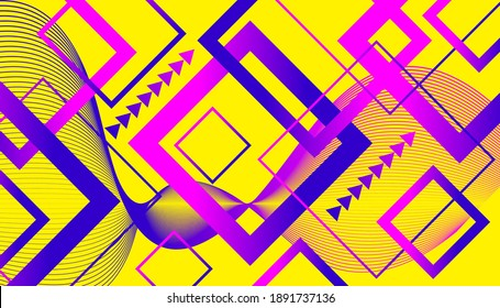 yellow background with bright purple and blue gradient rectangular gradient lines for business