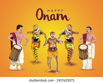 yellow background for famous South Indian festival happy Onam celebration. vector Illustration design of traditional tiger dance (Pulikali) and chenda melam.