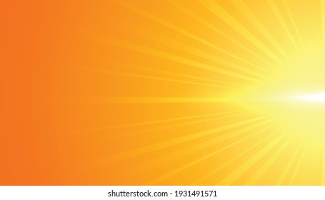 Yellow background with flare rays effect design