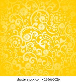 Yellow background with lemon. Vector Illustration