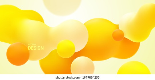 Yellow background with liquid bubble shapes. Vector 3d illustration. Morphing gradient blobs. Flowing colorful bubbles. Fluid particles backdrop. Decoration for banner or sign design