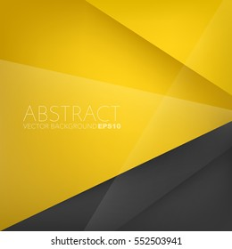 Yellow background overlap paper layer with black space for text and message artwork design , Vector