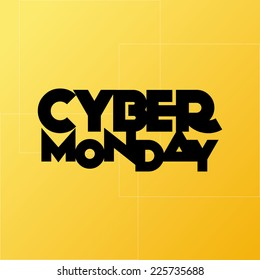 a yellow background with text for cyber monday