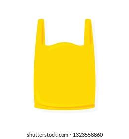 yellow bag plastic illustration on white background