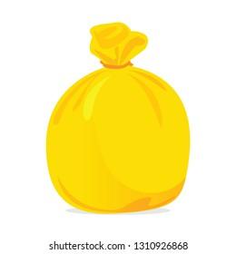 yellow bag plastic waste, garbage bags plastic yellow, yellow plastic trash bag illustration (vector)