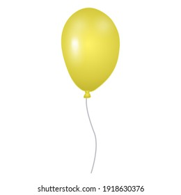 Yellow balloon isolated on white background. Template for postcard, banner, poster, web design. Hand Drawn vector illustration.