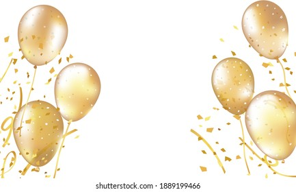Yellow balloons for birthday party or balloon festival design. Vector glossy 3D realistic yellow, .Birthday ballon set. Inflatable air flying balloon realistic 3D vector illustration.