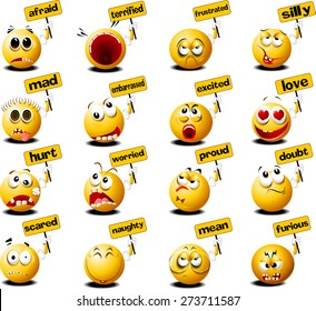 yellow balls with placards in their hands, vector and illustration