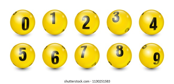 Yellow Balls Set with Black Text Number 0 to 9