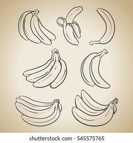 Yellow Bananas vector illustration on vintage background. Overripe Banana, Single Banana , Peeled Banana, Bunch of Bananas.